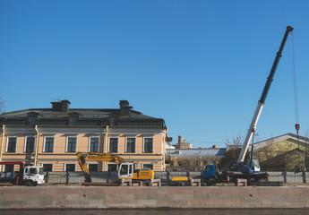 Embankment renovation of the Fontanka River in St. Petersburg.