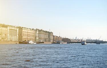 Palace bridge and Hermitage in Saint-Petersburg.