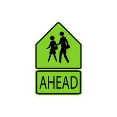 USA traffic road signs. school advance warning,you're entering a school zone. vector illustration