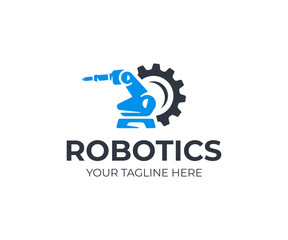 Robotic manipulator arm logo template. Handling robot vector design. Industrial mechanical arm logotype