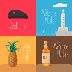 Set of vector illustrations with Cuban symbols