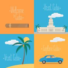 Set of vector illustrations with Cuban symbols