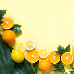 Summer tropical fruits, lemon, orange and green leaves on yellow. Copy space. Top view. Square image.