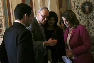 Pelosi and Schumer (D-NY) as they gather for a news conference about their future plans they say will help U.S. teachers and students, at the U.S. Capitol in Washington