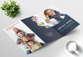 Blue and White Trifold Brochure Layout