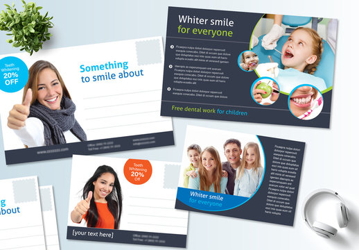 Blue and White Postcard Layout Set