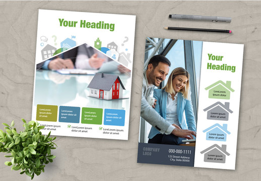 Flyer Layout Set with House Illustrations