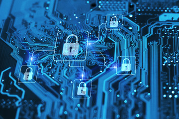 Cyber security and protection of private information and data concept. Locks on blue integrated circuit. Firewall from hacker attack. Wall mural