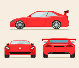 Sport red car three angle set. Car  front, side and rear view. Vector flat style  illustration