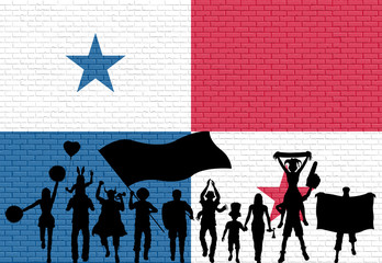Panamanian supporter silhouette in front of brick wall