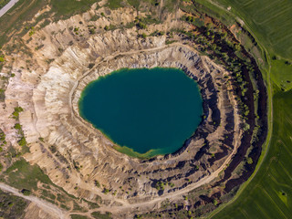 Aerial view of a crater of a minig pit