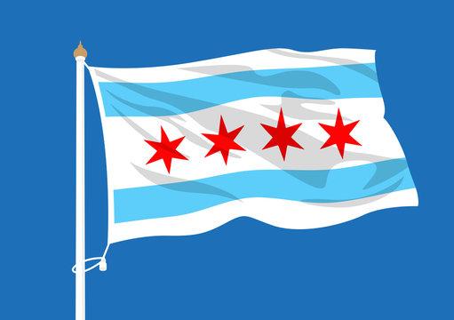 Chicago flag waving