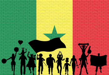 Senegalese supporter silhouette in front of brick wall with Senegal flag