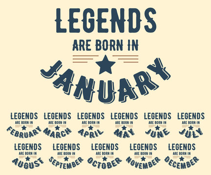 Legends are born in various months t-shirt stamp