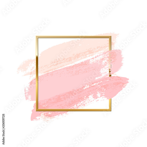 Pastel Pink Brush Strokes With Square Golden Frame Isolated On White