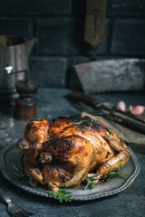 Grilled chicken on vintage plate in cold tones. Low shallow focus