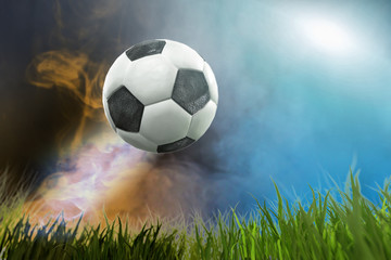 3D Illustration of a Soccer ball in arena