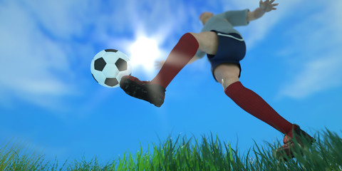 3D Illustration of a Soccer concept Soccer Player Kicking Ball