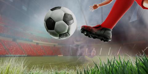 3D Illustration of a Soccer concept Soccer Player Kicking Ball