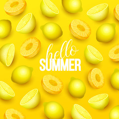 Summer background with fruits. Vector illustration.