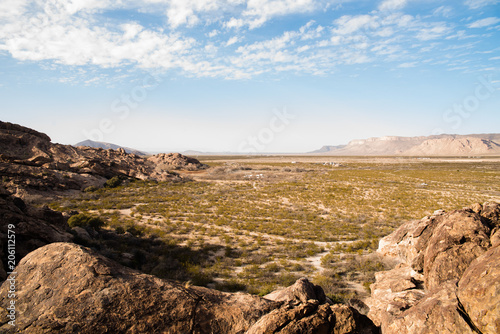 Desert Landscape View At Hueco Tanks In El Paso Texas Stock