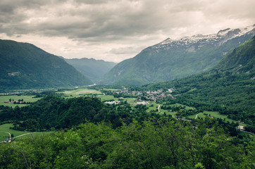 Dramatic scenery of Bovec city in Soca Valley, Slovenia, Europe