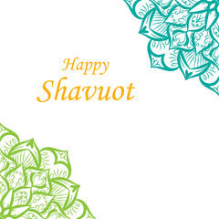 Happy Shavuot banner with flower mandala in vector