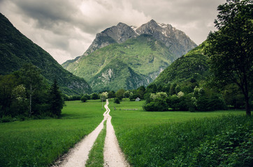 Dramatic scenery of hiking trail in Koritnica Valley near Bovec, Slovenia, Europe