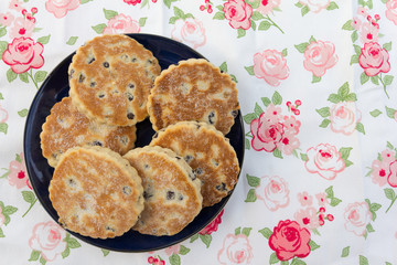 Welsh cakes presented on a plate