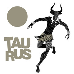 Tribal zodiac. Taurus. Man with bull head, fangs necklace and bracelets on his ankles, dancing a tribal dance