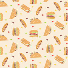 Seamless pattern with cartoon outline fast food in orange colors. Cute doodle fastfood including hamburger, taco, burrito, hot dog texture for textile, background, wrapping paper, package