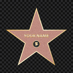 Creative vector illustration of sidewalk famous actor star. Hollywood walk of fame art design. Abstract concept graphic element of blank template on granite square in boulevard
