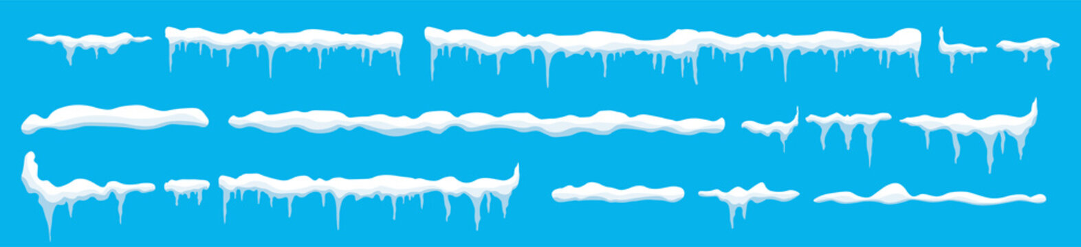 Creative vector illustration of ice icicle, caps, snowflakes set isolated on background. Winter snow clouds template art design. Snowy frame decoration. Graphic element. New year. Merry cristmas
