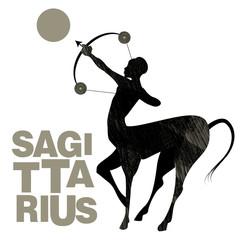 Tribal zodiac. Sagittarius. Centaur, half man and half horse, with bow and arrow in shooting pose
