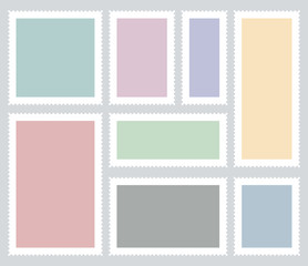 Creative vector illustration of blank postage stamps set isolated on background. Art design templates with place for your images and text. Abstract concept graphic element for mail, post card