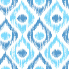 Retro ikat blue pattern.