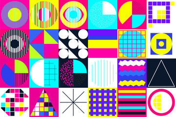 Geometric figures collection. Universal Vector colorful individu