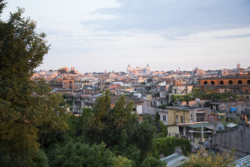 Rome at sunset seen from the hill