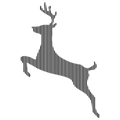 Abstract line silhouette of a deer. Isolated on white