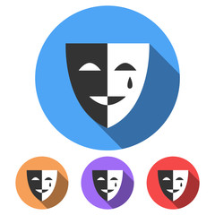 Simple, flat, circular, black and white drama/theatre mask icon. Casting a shadow. Four color variations