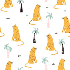 Leopard and palm tree cute seamless pattern. Vector hand drawn illustration.