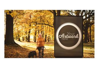 Advertising Kiosk in Woods Mockup
