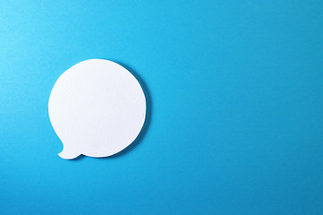circle text bubble on blue background