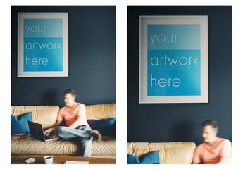 White Frame Poster in Living Room Mockup