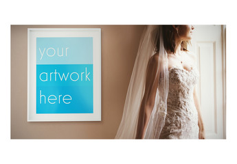 Bride with White Frame Poster Mockup