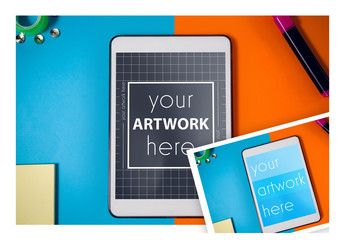 Tablet on Brightly Colored Background Mockup