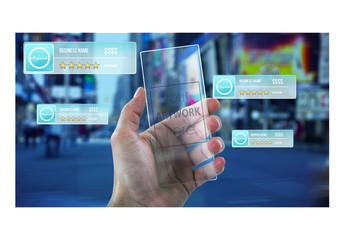 Hand Holding Futuristic Phone  Mockup