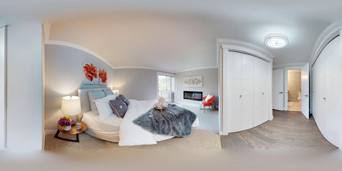 3d illustration spherical 360 degrees, a seamless panorama of master bedroom.