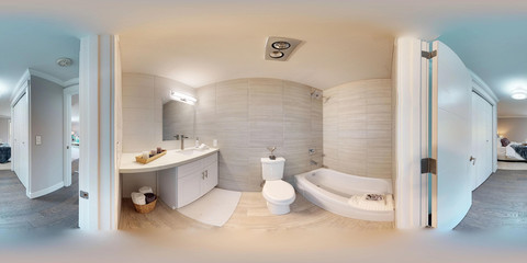 3d illustration spherical 360 degrees, a seamless panorama of hallway