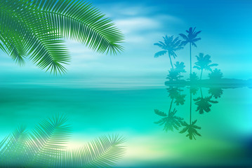 Sea with island and palm trees and palm leaves. EPS10 vector.